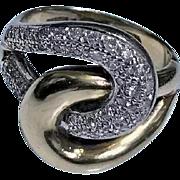 1970's 14K Yellow and White Gold Diamond twist Ring