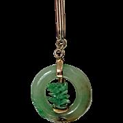 Jadeite Jade circle Pendant in 14K