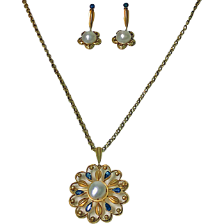 Exceptionally Rare Gold David Andersen Sapphire Cultured Pearl Suite, C.1950