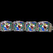 Scandinavian Sterling Enamel abstract Bracelet, Oystein Balle  C.1950