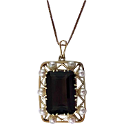Mid-century 14K quartz and cultured pearl Pendant Necklace, C.1960.