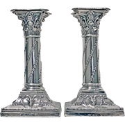 Antique Sterling Silver Candlesticks, London 1903, William Hutton