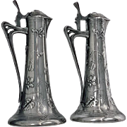 Pair of Art Nouveau Pewter Liquor Jugs, Germany C.1900