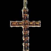 Gold Citrine Cross Crucifix Pendant, 20th century.