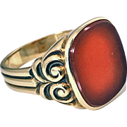 Antique Gold Carnelian Ring, C.1890