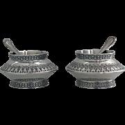 Pair of Antique Silver `Moorish' design Salts, London 1890 Finlay & Taylor