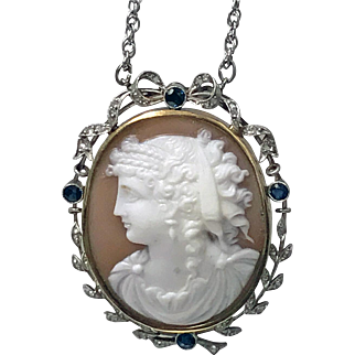 Antique Platinum 15K Cameo Pendant, Diamond Sapphire mount, English C.1900.