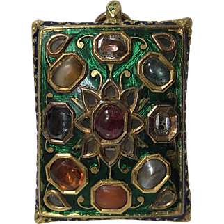 Antique Gold Gem set enamel Pendant poss North Indian, late 18th -19th cent