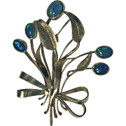 Retro Gold Opal Floral Bouquet Spray Brooch Pin, C.1950