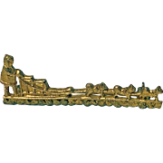 10K  Eskimo driven dog sled brooch,  early 20th century