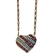 Diamond and Ruby Heart Pendant Necklace, 20th century