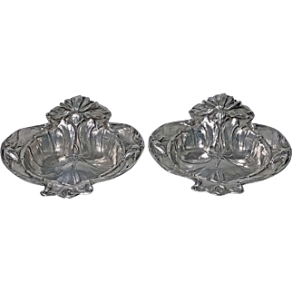 Pair American Alvin Sterling Art Nouveau Dishes, New Jersey, C.1900