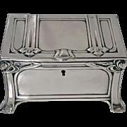 Rare Large Silver Jugendstil Nouveau Casket Box, Austrian C.1900