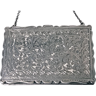 Antique Silver Card Case in form of a purse, Birmingham 1910, Adie and Lovekin