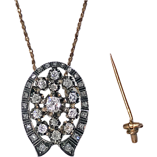 Antique 19th century Diamond Brooch Pendant silver and 18K gold, France, C.1870