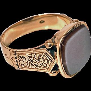 Antique Gold Gents Signet Ring, Sardonyx, Austria C.1890.