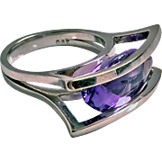 18K white gold and Amethyst modernist abstract Ring, 20th century