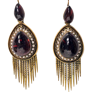 Antique 15K Gold Garnet tassel Earrings, English C.1875.