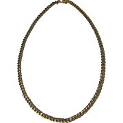 Heavy 14K yellow gold flat curb link Necklace, English C.1992