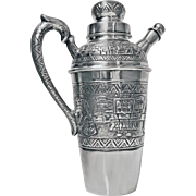 Silver Cocktail Shaker, Aztec design, South American, C.1930.