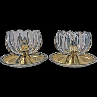 Georgian Silver and Glass Lily design Master Salts, London 1799, John Emes