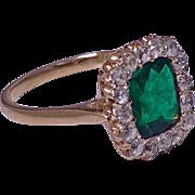 Antique Emerald and Diamond Ring, 18K, English C.1900