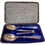 Antique Vermeil Silver Plate Fruit Serving Set, fitted Box, English C.1880