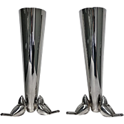 Pair of Christofle Art Deco Silver Plate Vases, C. 1930