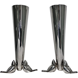Christofle Art Deco Silver Plate Vase, C. 1930