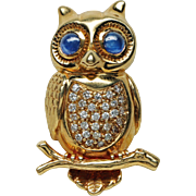 Boucheron 18K Diamond and Sapphire Owl Brooch Pin, 20th century