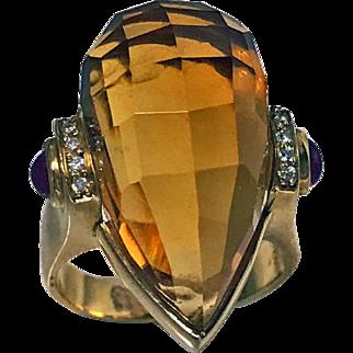 18K Citrine Bird's Head Ring
