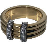 Omega 18K yellow Gold three band Ring, French marks