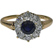 Antique 18K Sapphire and Diamond Ring, English C.1910.