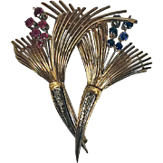 18K Sapphire, Ruby and Diamond Retro Brooch, Italy C.1950.