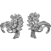 Platinum and Diamond spray Earrings with clips, C.1960