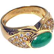 18K yellow gold Jadeite Jade cabochon and Diamond Ring, C.1980.