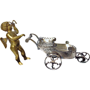 Unusual large Condiment Dish of Cherub riding a Sleigh, C.1880