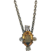 Antique Imperial Topaz and Pearl Pendant Necklace, 15K (tested), English C.1890