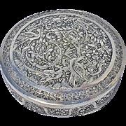 Silver Hand Chased Persian Isfahan Box, Bagher Parvaresh, ISFAHAN