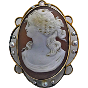 Fine Cameo of Lady 14K, C.1920