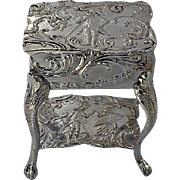 Antique Silver Miniature Commode English import marks for 1899 by JS