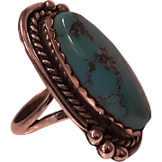 1930's Vintage Sterling Silver and Turquoise Navajo Ring Size 8