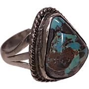 1950's Vintage Sterling Silver and Turquoise Navajo Ring, Size6.