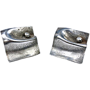 Pair of Scandinavian Modernism Sterling Cufflinks, Matti Hyvarinen, Finland C.1975.