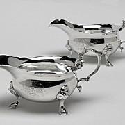 George 11 Silver Sauceboats, London 1739, Thomas Farren.