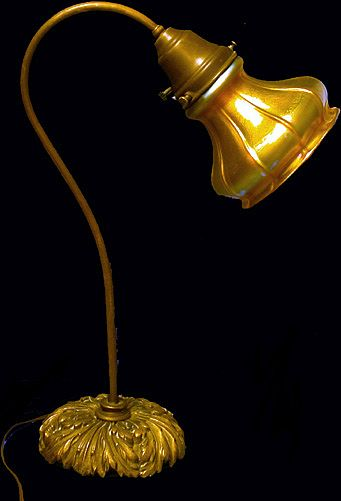 Fine Quezal Glass Desk Lamp, C.1910. Signed