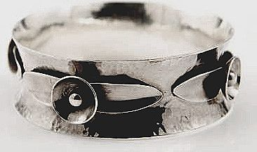 Carl Poul Petersen Sterling Blossom large Bangle, C.1930
