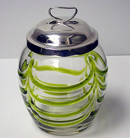 Art Nouveau silver and glass Honey Pot, Birmingham 1906