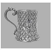 Antique Victorian Silver Mug, London 1863 by Robert Harper.