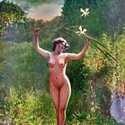 Erotic Nude Enamel Silver Cigarette Case Box, Continental C.1920